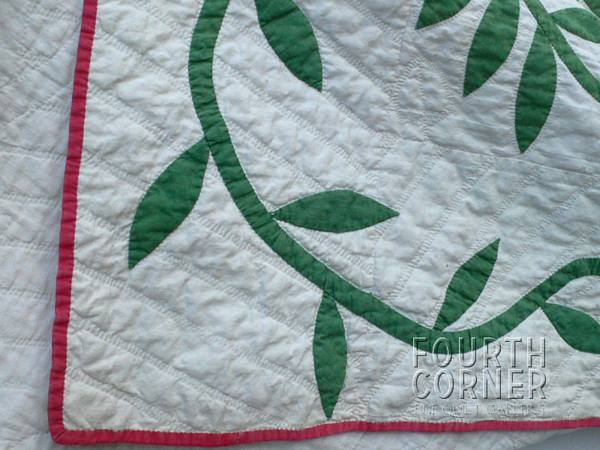 Astonishing museum signed rose wreath vine quilt with